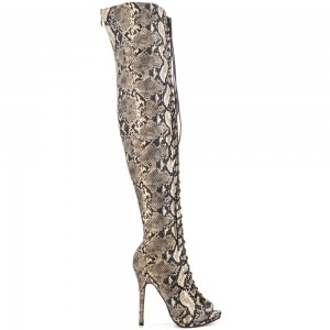 Snakeskin Boots Peep Toe Stiletto Heel Lace up Thigh High Boots