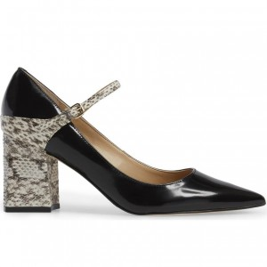 Python Strap Mary Jane Pumps Black Patent Leather Pointy Toe Shoes
