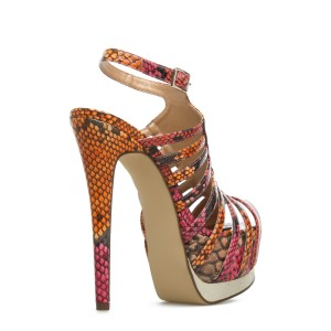 Python Super Stiletto Heel Platform Sandals Stripper Heels
