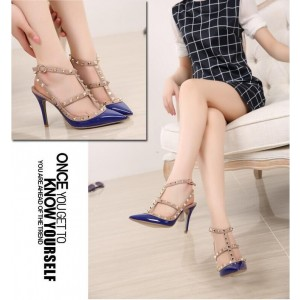 Royal Blue Studs Shoes T Strap Patent Leather Stiletto Heel Pumps