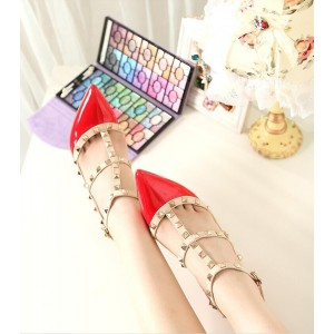 Red Studded T Strap Heels Patent Leather Stiletto Heel Pumps