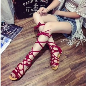 Red Gladiator Sandals Strappy Flats