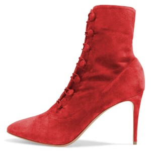 Red Agraffe Stiletto Boots Ankle Booties