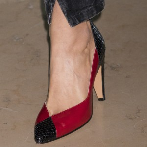 Red and Black Python Chunky Heels Pointed Toe Pumps