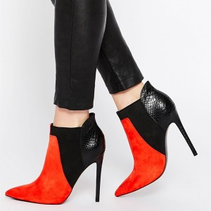 Red and Black Suede Stiletto Boots Python Ankle Booties for Women