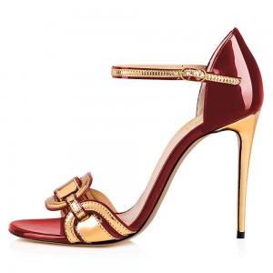 Burgundy and Gold Open Toe Stiletto Heel Ankle Strap Sandals