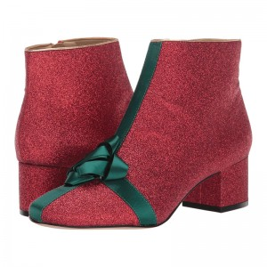 Red and Green Ribbon Glitter Boots Block Heel Almond Toe Ankle Boots