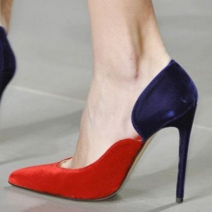 Red and Royal Blue Heels Pointy Toe Pumps for Women