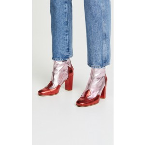Red and Silver Joint Chunky Heel Boots