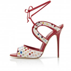 Red and White Canvas Stiletto Heel Ankle Strap Sandals