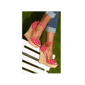 Red and White Polka Dots Cork Wedges Peep Toe Ankle Strap Sandals