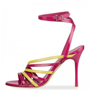 Magenta and Yellow Patent Leather Stiletto Heel Ankle Strap Sandals