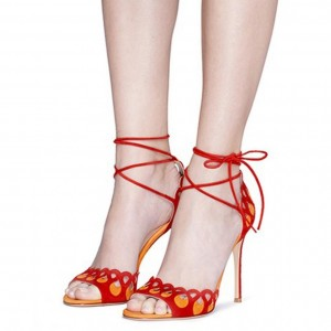 Red and Yellow Suede Hollow Out Stiletto Heels Strappy Sandals