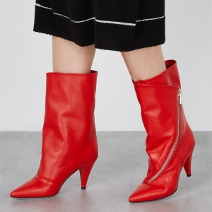 Red Ankle Booties Pointed Toe Cone Heel Boots for Women