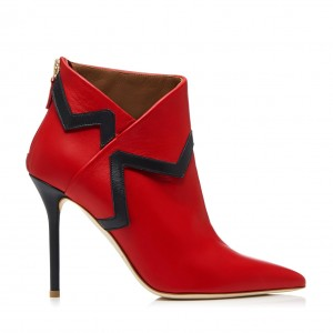 Red Ankle Booties Pointy Toe Stiletto Heel Fashion Boots