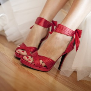 Red Ankle Strap Bow Stiletto Heels Sandals