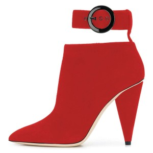 Red Ankle Strap Buckle Cone Heel Ankle Booties
