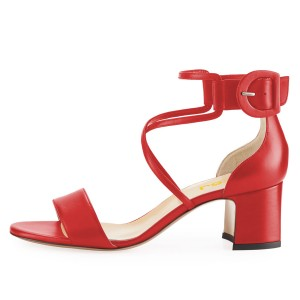 Red Block Heel Sandals Ankle Strap Buckle Cross Over Sandals