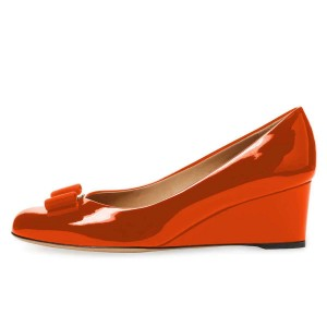 Red Bow Closed Toe Wedges Patent Leather Pumps