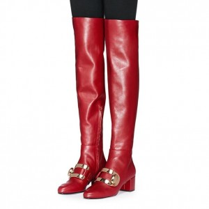 Red Buckle Chunky Heel Boots Over the Knee Boots