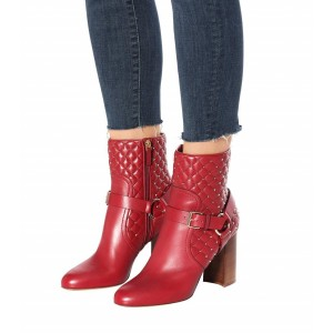 Red Buckle Chunky Heel Boots Round Toe Quilted Rivets Ankle Booties