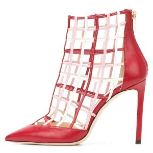Red Caged Stiletto Heels Ankle Boots Summer Boots