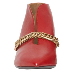 Red Chains Cone Heel Kitten Heel Fashion Boots