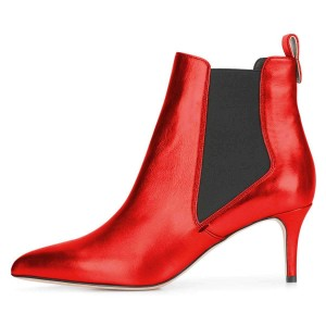Red Chelsea Boots Stiletto Heel Ankle Boots