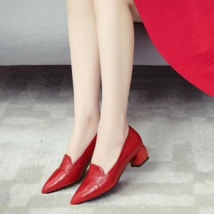 Red Crocodile Pointy Toe Low Heel Loafers for Women US Size 3-15