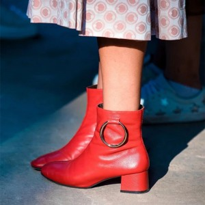 Red Circle Block Heel Ankle Booties