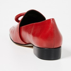 Red Circle Block Heel Loafers for Women