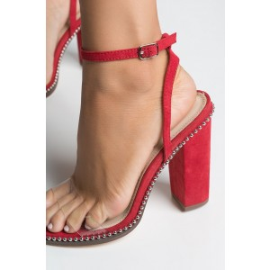 Red Clear Heels Slingback Sandals Open Toe Studs Block Heel Sandals
