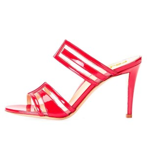 Red Clear PVC Mule Heels Sandals