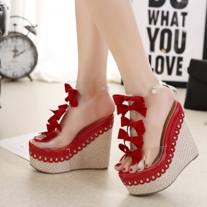 Red Clear Wedges Sandals Peep Toe T Strap Platform Sandals with Bow