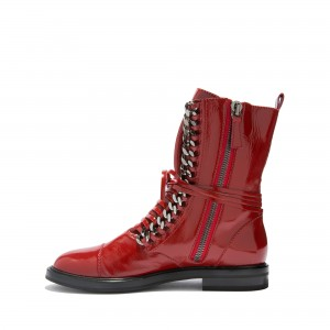Red Combat Boots Metal Chain Lace Up Flat Ankle Boots