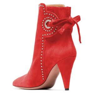 Red Cone Heels Suede Back Lace up Studs Ankle Booties By FSJ