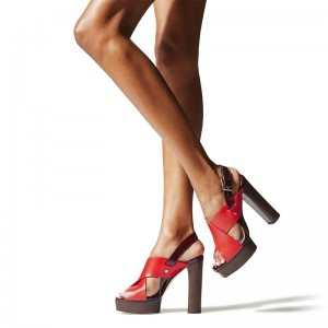 Red Cross Over Slingback Chunky Heel Platform Sandals