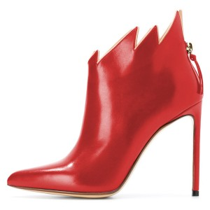 Red Flame Ankle Booties Pointy Toe Stiletto Heel Fashion Boots