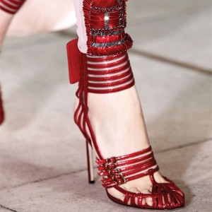 Red Evening Shoes Buckles Sexy Stiletto Heels Sandals for Prom
