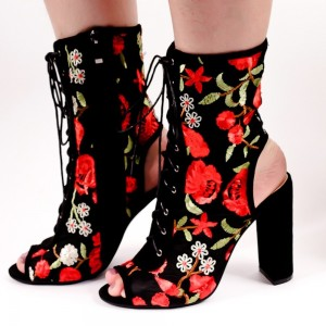 Floral Lace up Boots Chunky Heel Slingback Ankle Boots