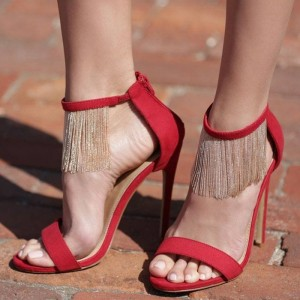 Red Fringe Suede Open Toe Stiletto Heel Ankle Strap Sandals