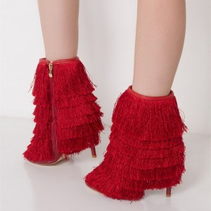 Red Fringe Boots Pointy Toe Stiletto Heels Zip Ankle Booties