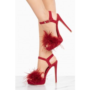 Red Fur Heels Platform Slingback Stiletto Heel Sandals