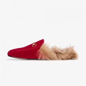 Red Fur Loafer Mules