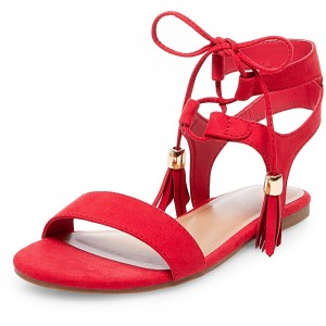 Red Gladiator Sandals Open Toe Flats Lace up Sandals with Tassels