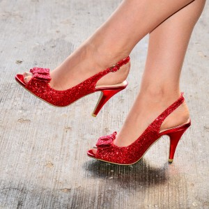 Red Glitter Shoes Bow Slingback Stiletto Heel Sandals