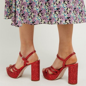 Red Glitter Shoes Platform Chunky Heel Sandals