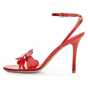 Red Heart Ankle Strap Sandals Stiletto Heels Slingback Sandals
