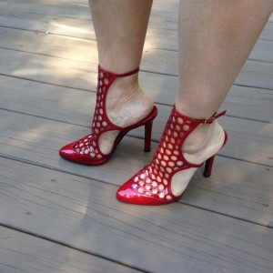 Red Hollow out Ankle Strap Heels Almond Toe Slingback Sandals