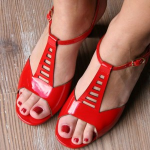 Red Hollow out Peep Toe Chunky Heels T Strap Sandals for Women